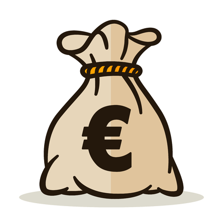 Illustration of money bag on white background