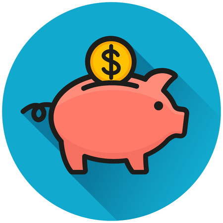Illustration of piggy bank circle blue icon