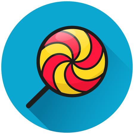 Illustration of lollipop circle blue icon concept