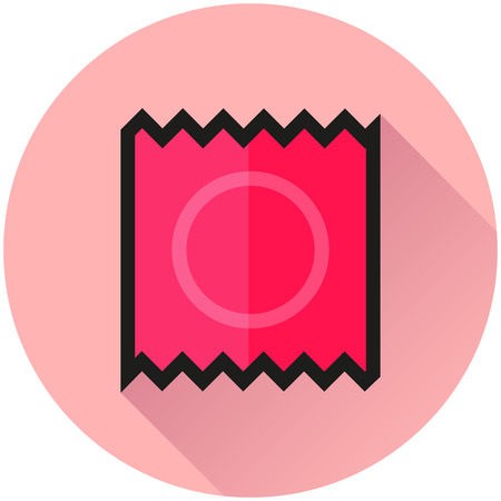 Illustration of condom circle pink icon concept