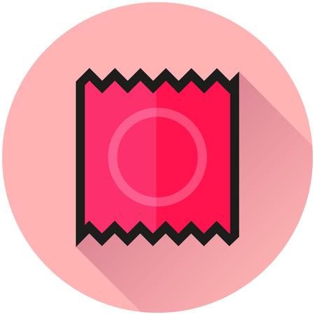 Illustration of condom circle pink icon concept
