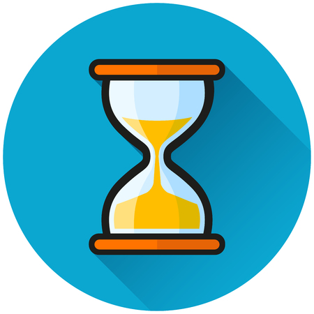 Illustration of hourglass circle blue icon concept