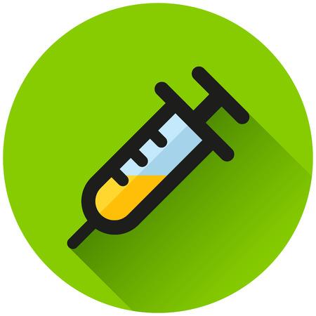 Illustration of syringe circle green icon concept