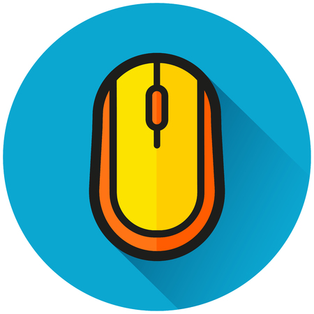 Illustration of computer mouse circle blue icon