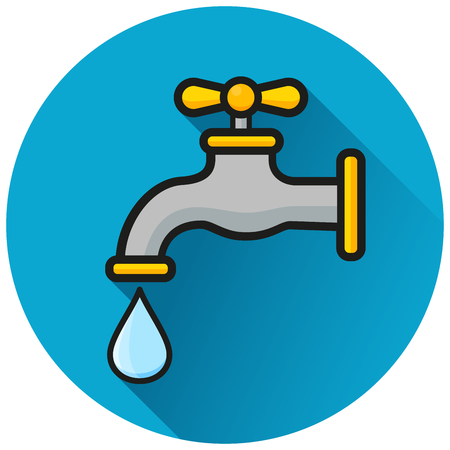 Illustration of faucet circle blue icon concept 向量圖像