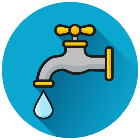 Illustration of faucet circle blue icon concept Illusztráció