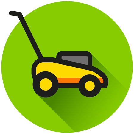 Illustration of lawn mower circle green icon 일러스트