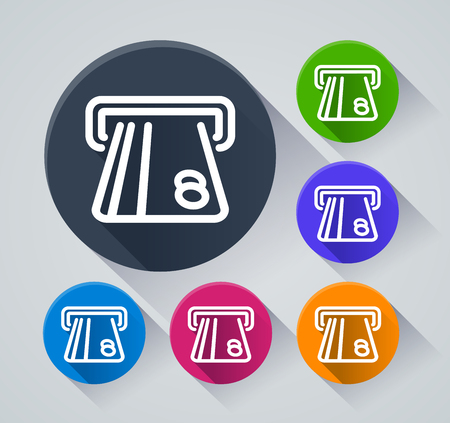 Illustration of atm circle icons with shadow