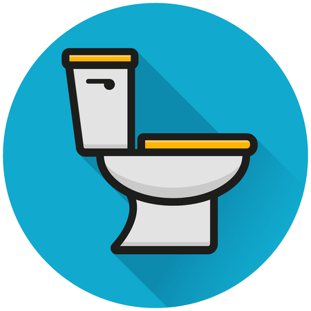 Illustration of toilet circle blue icon concept