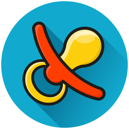 Illustration of pacifier circle blue icon concept