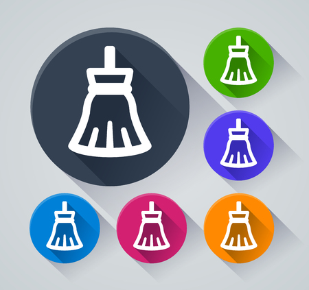 Illustration of broom circle icons with shadow