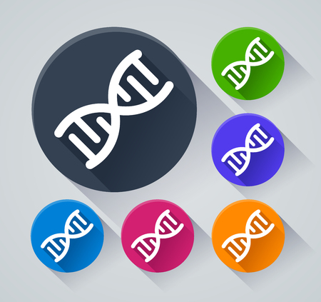 Illustration of dna circle icons with shadow