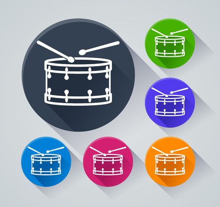 Illustration of drum circle icons with shadow Vector Illustration