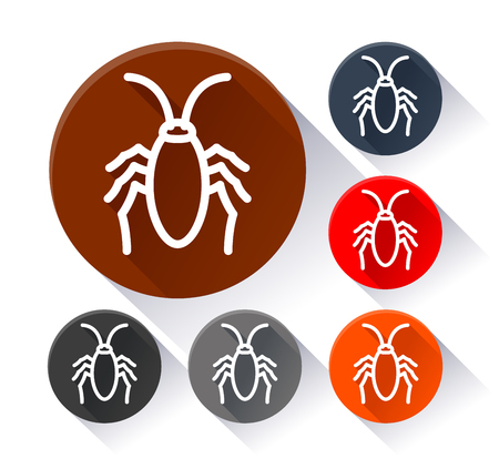 Illustration of cockroach circle icons with shadow Stock Illustratie