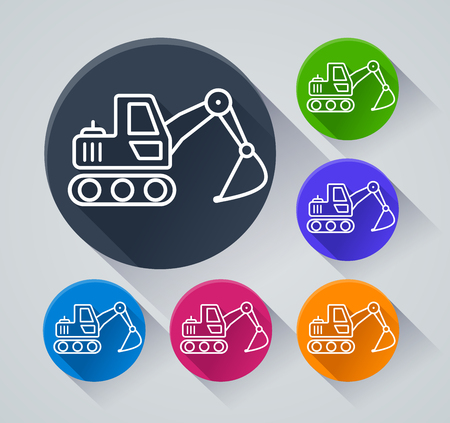 Illustration of excavator circle icons with shadow