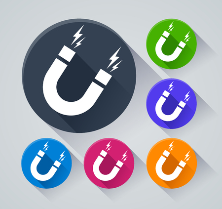Illustration of magnetism circle icons with shadow Illustration