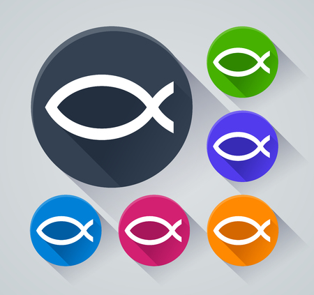 Illustration of jesus fish icons with shadow Illustration