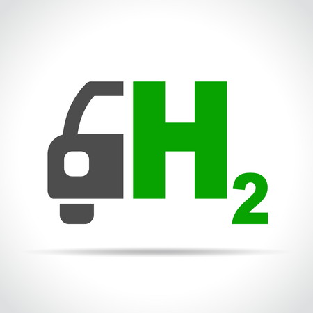 Illustration of hydrogen car icon on white background