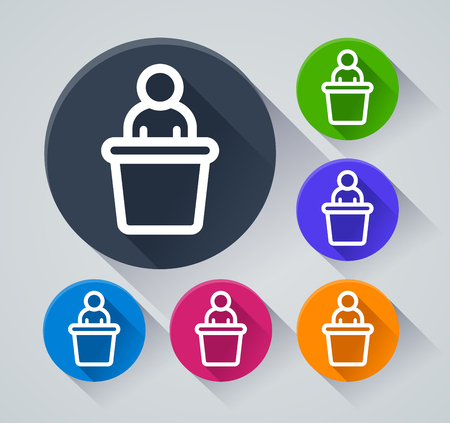 Illustration of speaker circle icons with shadow