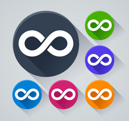 Illustration of infinity circle icons with shadow