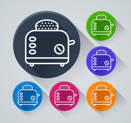 Illustration of bread toaster icons with shadow