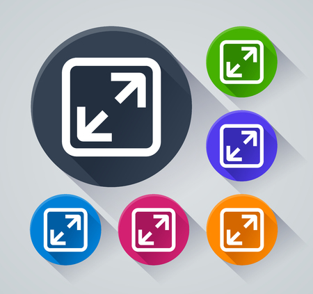 Illustration of full extend icons with shadow 向量圖像