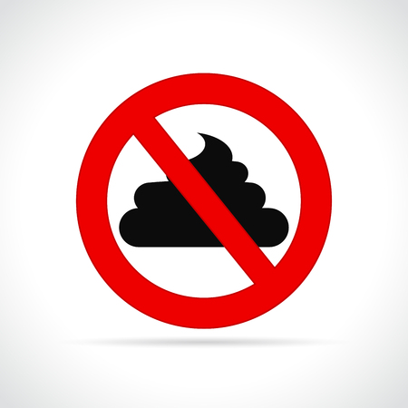 Illustration of no poop sign on white background