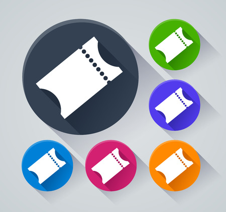 Illustration of ticket circle icons with shadow