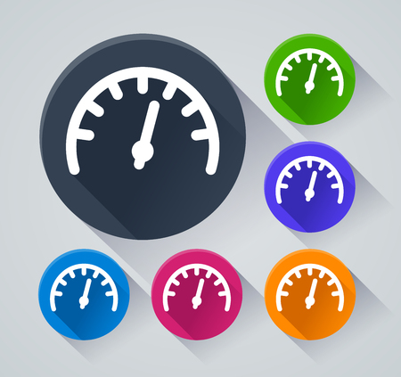 Illustration of speedometer circle icons with shadow