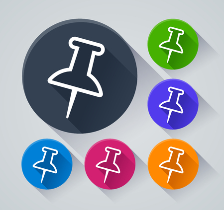 Illustration of push pin icons with shadow Illustration