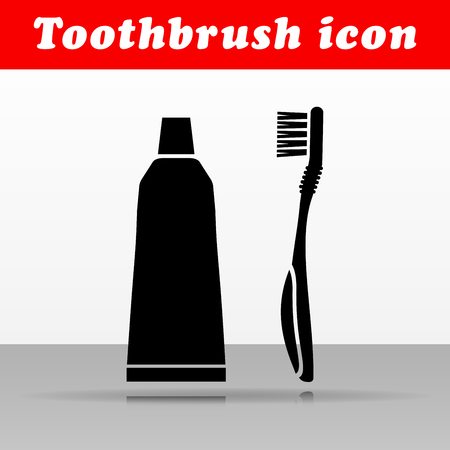 Illustration of black toothbrush vector icon design