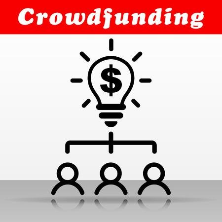 Illustration of black crowdfunding vector icon design