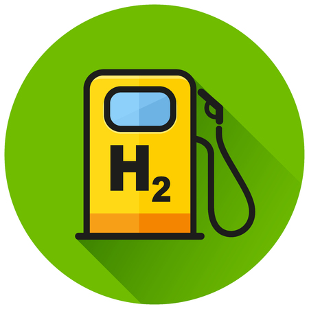 Illustration of hydrogen pump circle green icon
