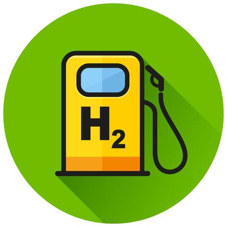Illustration of hydrogen pump circle green icon Illustration