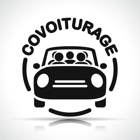 French translation for carpooling black circle icon