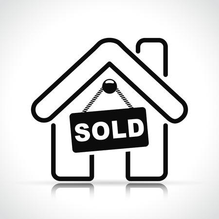Illustration of sold house on white background
