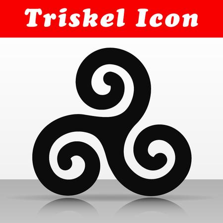 Illustration of black triskel vector icon design
