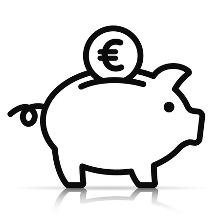Illustration of piggy bank on white background