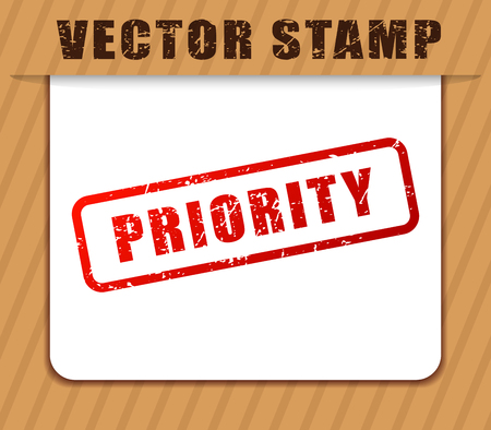 Illustration of priority buffered on white paper Stock Illustratie