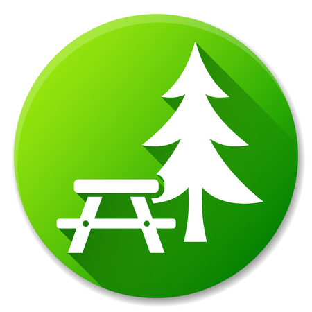 Illustration of picnic table green circle icon