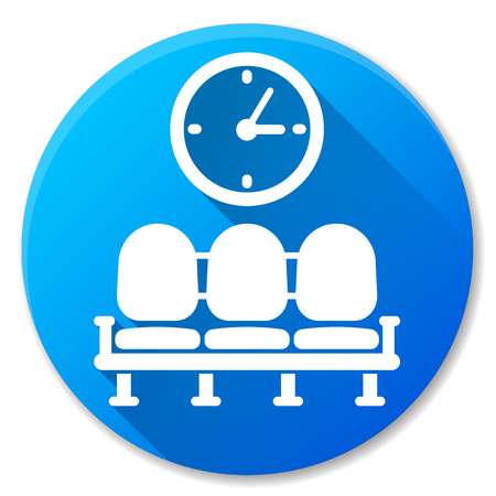 Illustration of waiting area blue circle icon