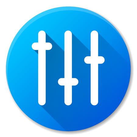 Vector illustration of sliders blue circle icon Illustration