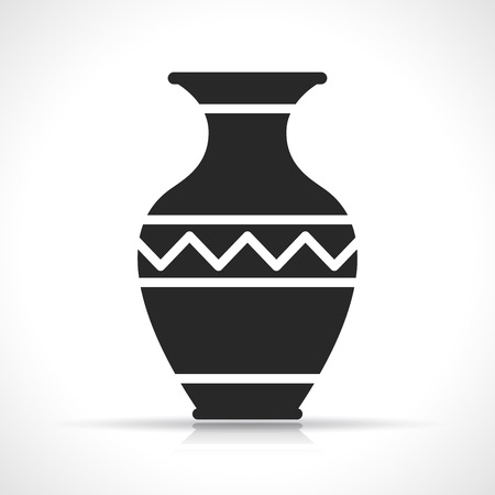 Illustration of vase icon on white background Çizim