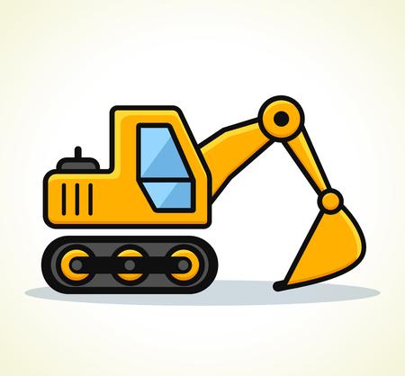 Vector illustration of excavator on white background