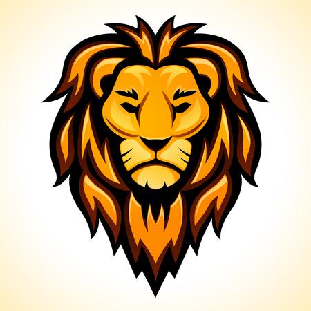 Diseño de cabeza de león de vector sobre fondo blanco