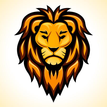 Disegno della testa del leone di vettore su priorità bassa bianca