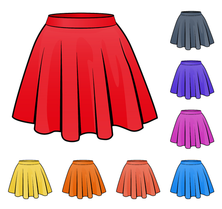 Illustration of skirts set in various colors Illustration
