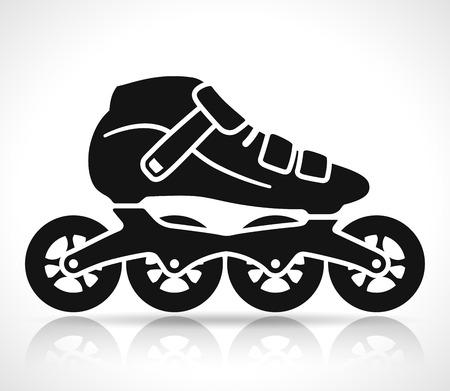 Icône de vecteur de patin à roulettes sur fond blanc