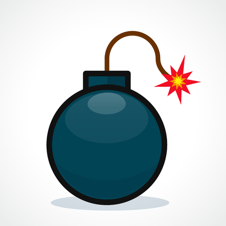 Vector illustration of bomb on white background Illustration