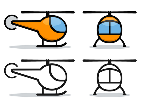Vector illustration of helicopter on white background